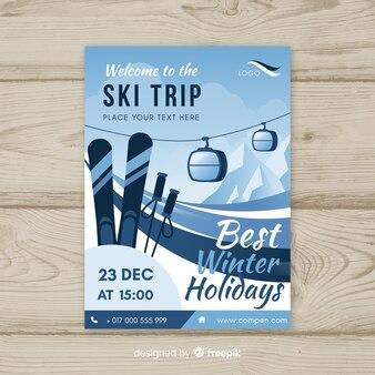 Flache seilbahn ski reise poster vorlage