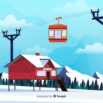 Flache seilbahn winter illustration
