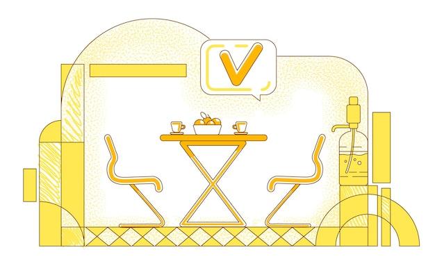 Flache silhouetteillustration der firmencafeteria-geschäftskonturzusammensetzung der geschäftsloungezone auf gelbem hintergrund leerer treffpunkt und sprechblase mit einfacher stilzeichnung des häkchens