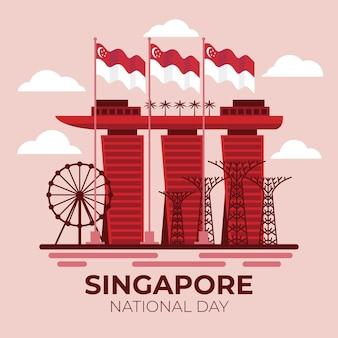 Flache singapur-nationalfeiertagillustration