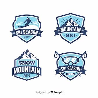 Flache ski- und schneeabzeichen-sammlung