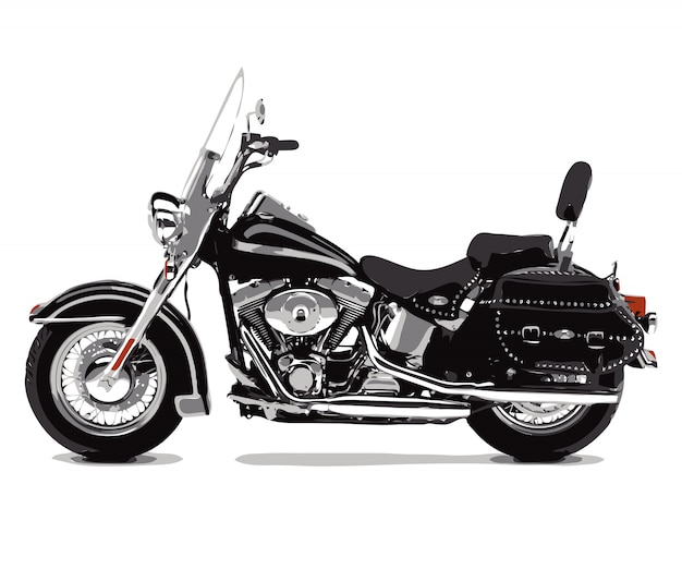 Flache skizzen der motorrad-fahrradvektor-illustration