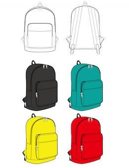 Flache skizzenschablone der rucksackdesignillustration