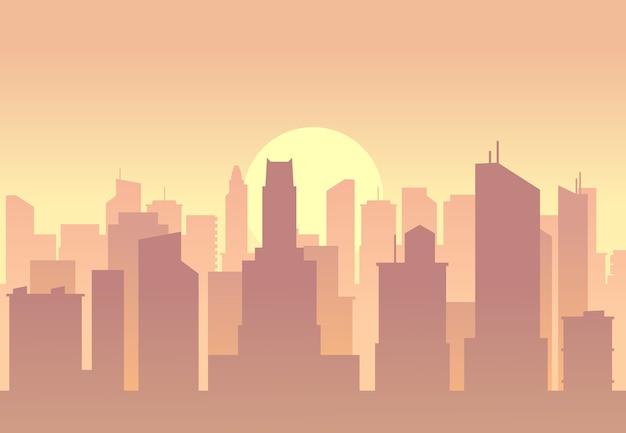 Flache skyline der vektorstadt