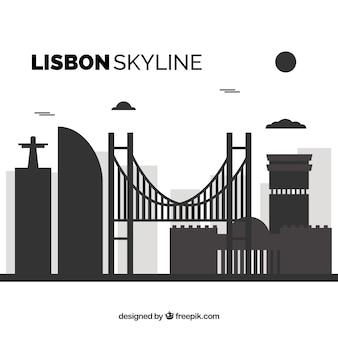 Flache skyline von lissabon