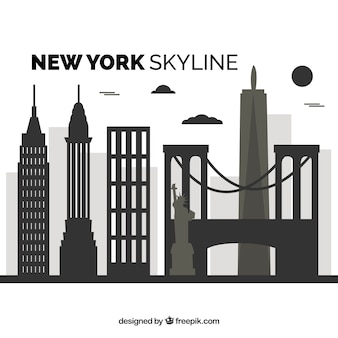 Flache skyline von new york