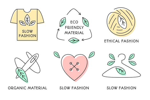 Flache slow fashion abzeichen kollektion