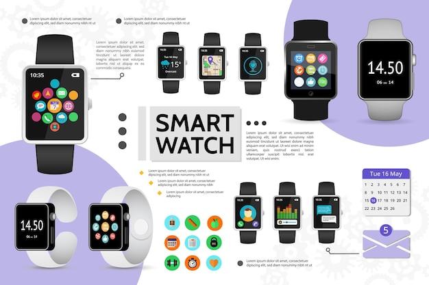 Flache smart-watch-elemente zusammensetzung mit fitness musik chat anruf kalender wetter navigationskarte