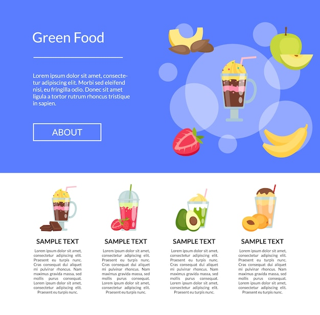 Flache smoothie banner landing page