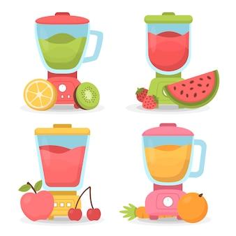 Flache smoothies im mixerglas-set