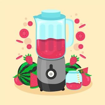 Flache smoothies in der mixerglasillustration