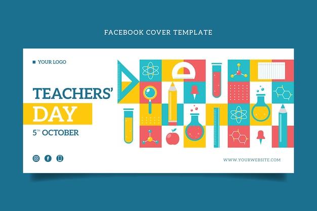 Flache social-media-cover-vorlage für den tag des lehrers