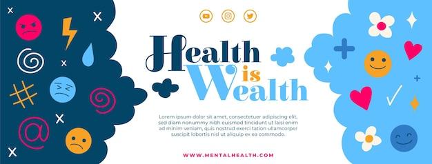 Flache social-media-cover-vorlage für psychische gesundheit
