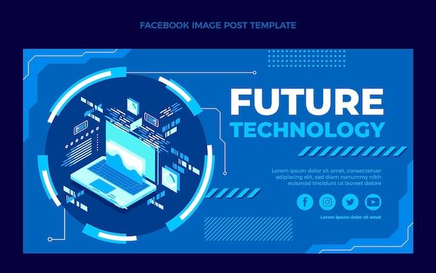 Flache social-media-postvorlage mit minimaler technologie