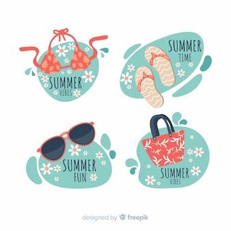 Flache sommer-abzeichen-sammlung