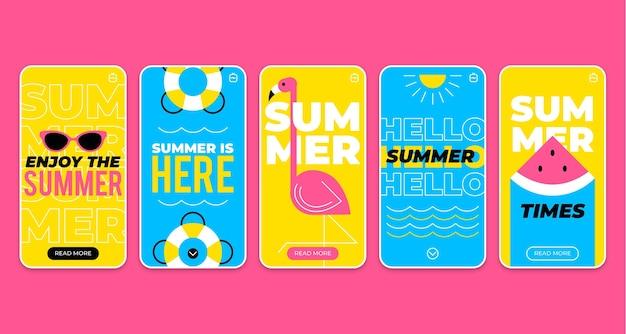 Flache sommer instagram geschichten sammlung Kostenlosen Vektoren