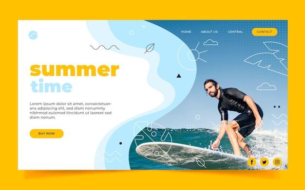 Flache sommer-landingpage-vorlage mit foto