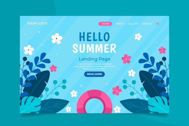 Flache sommer-landingpage-vorlage