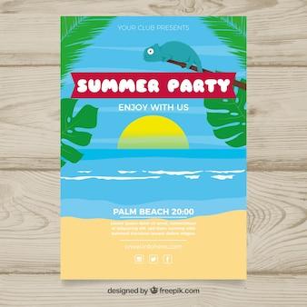 Flache sommer-party-broschüre mit niedlichem chamäleon