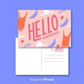 Flache sommerferien postkarte vorlage