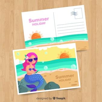 Flache sommerferienpostkarte