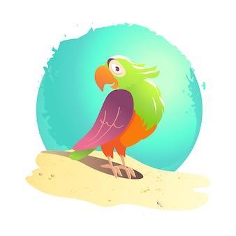 Flache sommerkarikaturvogelillustration. seeküste, sand, himmel. heller farbiger fröhlicher freundlicher niedlicher papagei, der auf sand steht. exotisches vogelporträt.