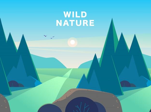 Flache sommerlandschaftsillustration mit bergen, sonne, tannenbäumen, straße, busch, medows und blau bewölktem himmel.