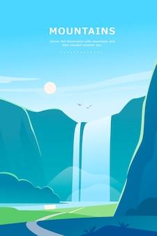 Flache sommerlandschaftsillustration mit wasserfall, fluss, bergen, sonne, wald am blauen bewölkten himmel.