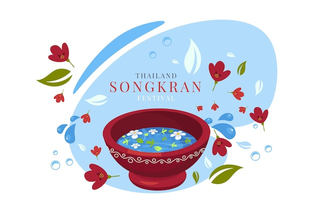 Flache songkran-illustration