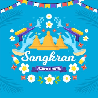 Flache songkran-illustration Premium Vektoren