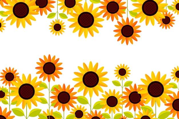 Flache sonnenblumenbordüre mit kopierraum