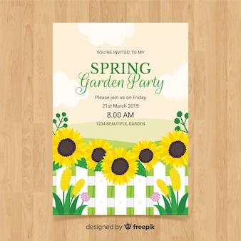 Flache sonnenblumenfrühlingsfest-plakatschablone