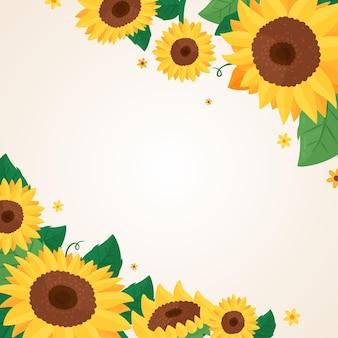 Flache sonnenblumengrenze mit leerem raum