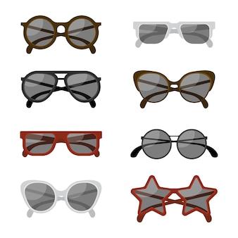 Flache sonnenbrillen-kollektion