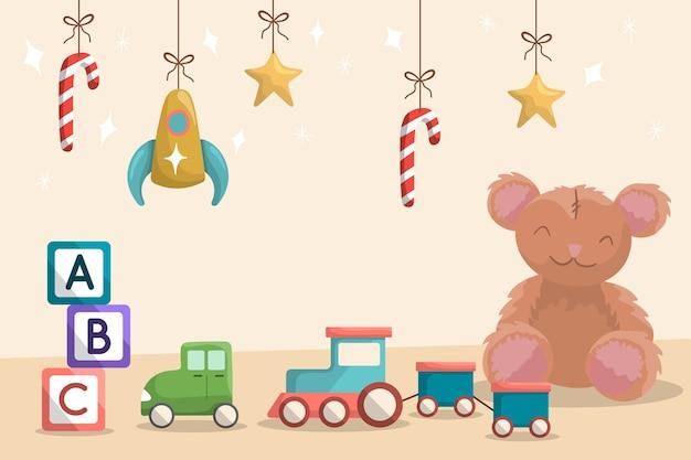 Flache spielzeug weihnachten hintergrund