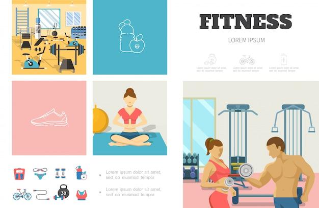 Flache sport-infografik-vorlage mit fitness-fitnessstudio-mann und frau, die hantelnmädchen, das in yoga-pose-sportbekleidung-fahrradwaagen meditiert, heben