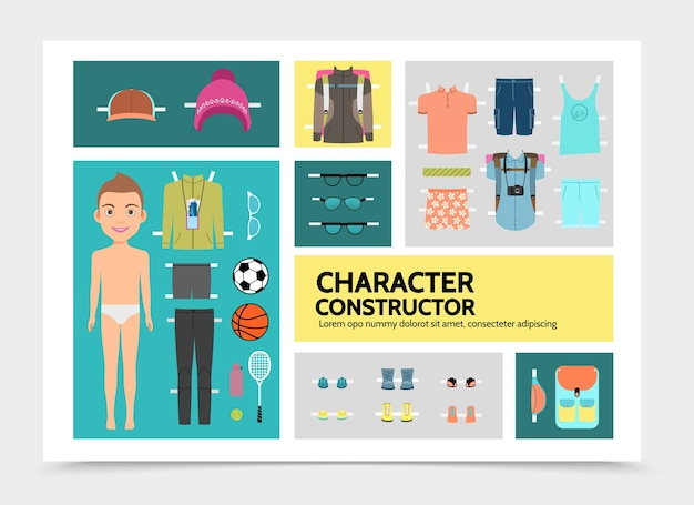Flache sport mann charakter infografiken mit jungen hemden shorts turnschuhe