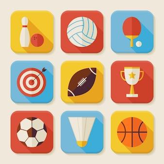 Flache sport und aktivitäten squared app icons set. flache art-vektor-illustrationen. team spiele. erster platz. sammlung von quadratischen rechteckigen anwendungs-bunten symbolen mit langem schatten