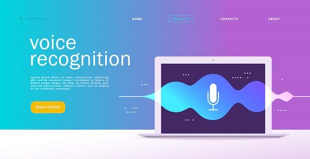 Flache spracherkennungsillustration. landingpage-design. laptop-bildschirm mit schallwellen und dynamischem mikrofonsymbol.