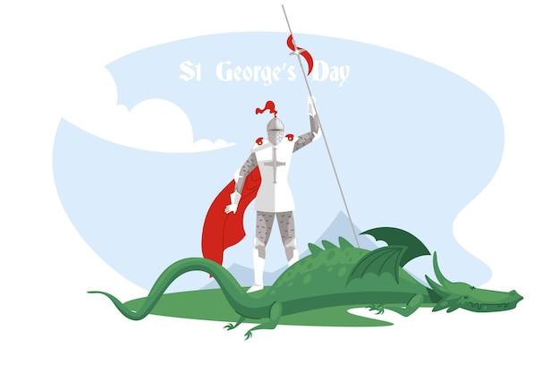 Flache st. george's day illustration mit ritter und drache