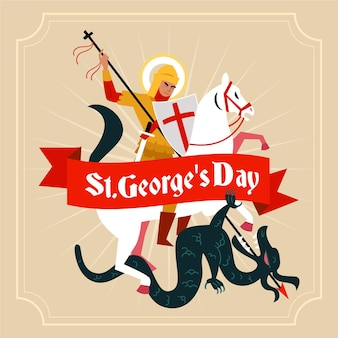 Flache st. george's day illustration mit ritter