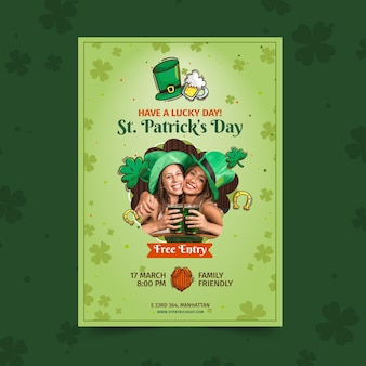 Flache st. patrick's day a4 poster vorlage