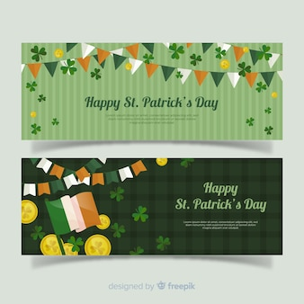Flache st. patrick's day banner