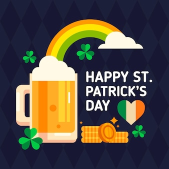 Flache st. patrick's day becher illustration
