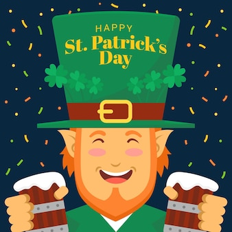 Flache st. patrick's day elf illustration