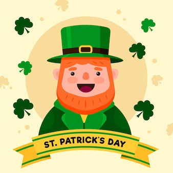 Flache st. patrick's day illustration mit mann