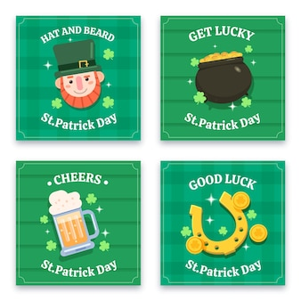 Flache st. patrick's day instagram posts pack