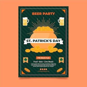 Flache st. patrick's day vertikale poster vorlage
