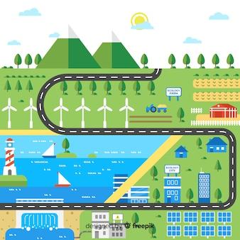 Flache stadt mit erneuerbaren energien
