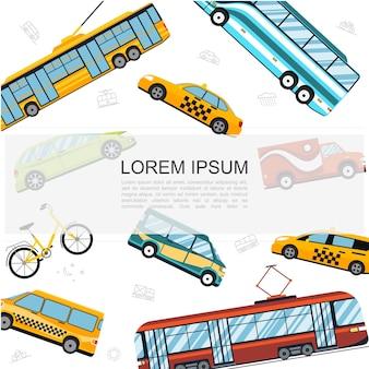 Flache stadt öffentliche verkehrsvorlage mit bus straßenbahn trolleybus fahrrad autos taxi autos